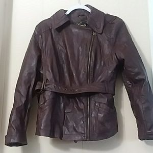 Guess   Faux Leather Maroon Moto Jacket